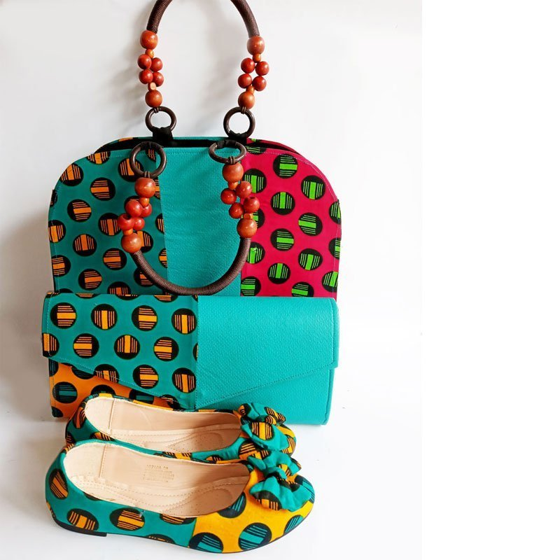 african print bag purse and shoe