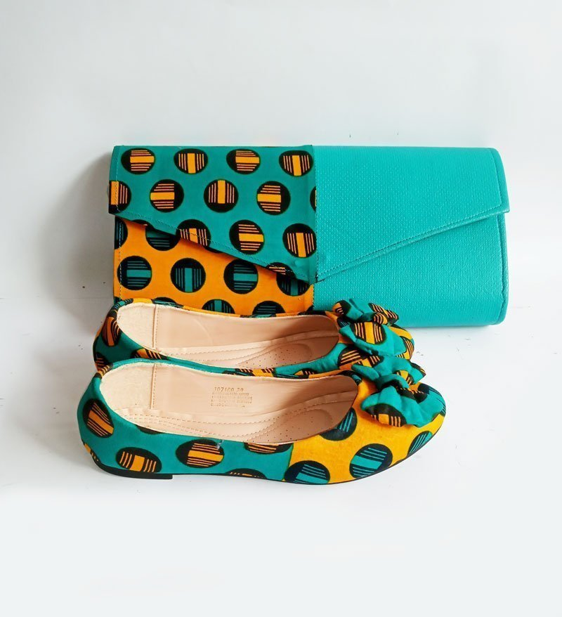 african print purse and shoe