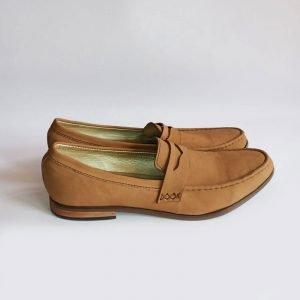brown suede slip on shoe