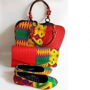 kente bag and shoe