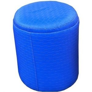 round leather chair blue